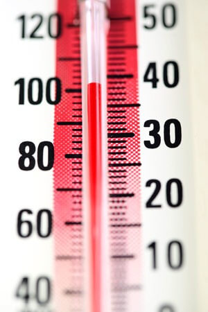 Photo of a thermometer registering 102 degrees Fahrenheit