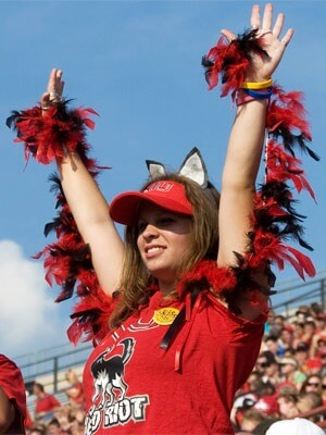 Photo of a Red Riot Huskies football fan