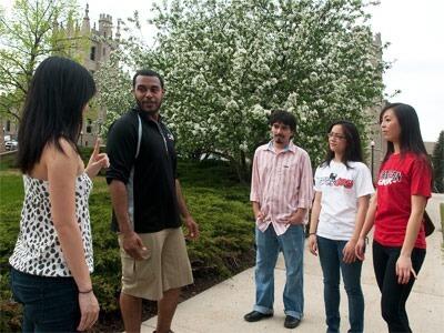 NIU students chat near Altgeld Hall