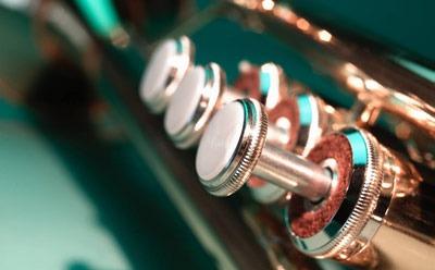 Close-up photo of a trumpet's valves