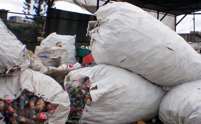 Bags of trash in the Guatemala City landfill.