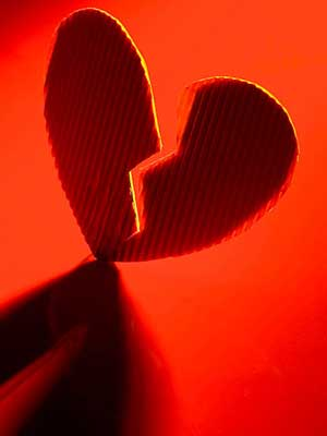 Photo of a heart torn in two