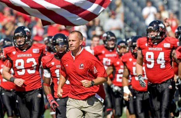 Coach Dave Doeren and the NIU Huskies take the field Saturday in Chicago.
