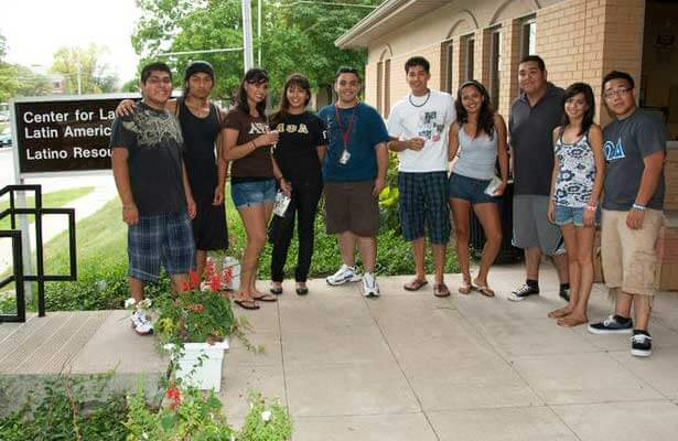 NIU students stand outside the Center for Latino and Latin American Studies/Latino Resource Center