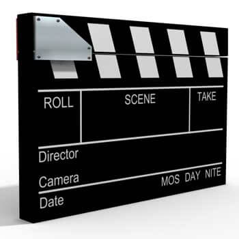 Photo of a movie director's clapper board