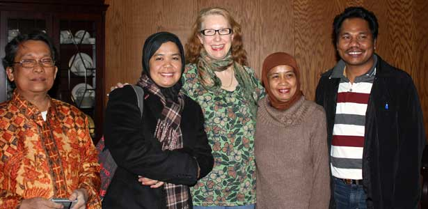 English professor Doris Macdonald, second from left, celebrates with her visiting Indonesian scholar mentorees, from left, Sudarmin Harun, Syamsidar Murad, Andi Tenri Ampa and Syahruddin at a December 2010 ceremony where 15 graduate students participating in an Indonesia Department of Education exchange program received certificates of completion from NIU. (CSEAS file photo)