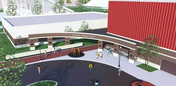 Kenneth and Ellen Chessick Practice Center - Huskie Pride Plaza. Image courtesy HKM Architects + Planners, Inc.