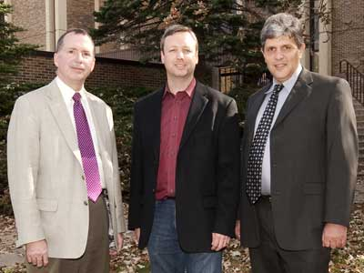 (Left to right) Liberal Arts and Sciences Dean Christopher McCord, Lextech CEO Alex Bratton and Computer Science Chair Nicholas Karonis.