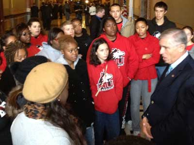Rep. Robert Pritchard, R-Hinckley, speaks with NIU students in Springfield.