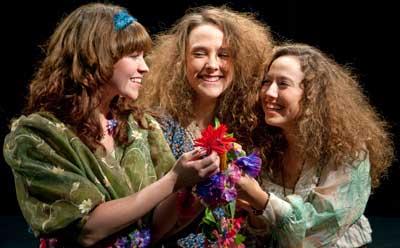 "Kendra Holten Helten plays Perdita, Caitlin Cavannaugh plays Dorcus and Kaitlyn Finkelstein plays Mopsa in ""The Winter's Tale."""