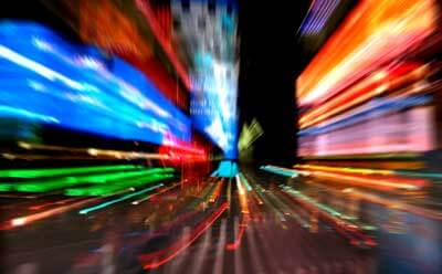 Blur-motion photo of Times Square in New York City