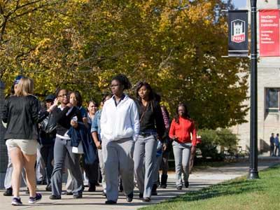 Photo of an autumn campus tour at NIU