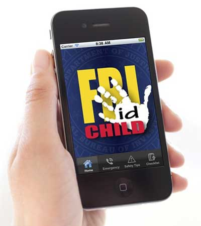 Photo of a hand holding a mobile phone displaying the FBI's Child ID App