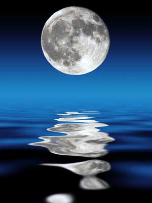 A photo of the moon and its reflection on water