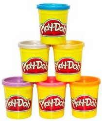 Photo of a stack of Play-Doh cans