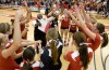 Coach Ray Gooden and the NIU volleyball team celebrate!