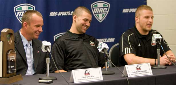 Coach Dave Doeren, quarterback Chandler Harnish and linebacker Pat Schiller speak Thursday at a MAC Championship press conference.