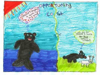 "This ""Opportunity Cost"" poster by a local third grader was a regional contender in the Economics Poster Contest."