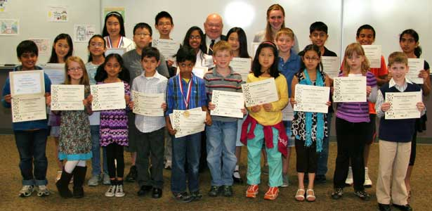 In a recent reception, Economics Poster Contest winners from Naperville met with Mayor Arthur Pradel and received their state and regional awards.