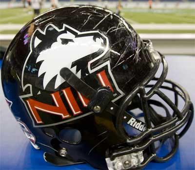 Photo of an NIU football helmet at Ford Field