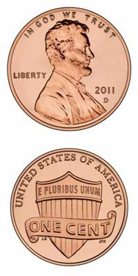 Back and front of 2011 U.S. penny