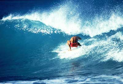 Photo of a man surfing