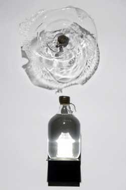 Thomas Skomski, Unknown with Priapus, Glass, Water, Steel & Felt, 1992