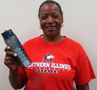 Photo of a Campus Recreation member with a water bottle