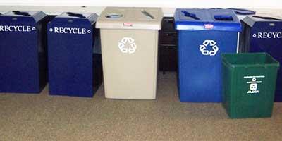 Photo of new NIU recycling bins