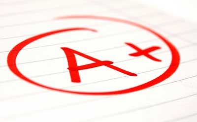 Image of an A+ grade in red ink