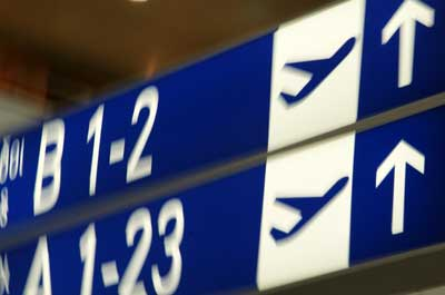 Photo of signs in an airport