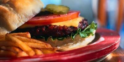 Photo of hamburger and fries on plate