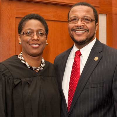 Huskie sweethearts: the Hon. Sharon Johnson Coleman and new NIU Trustee Wheeler G. Coleman