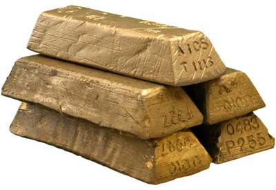 A photo of five gold bars stacked