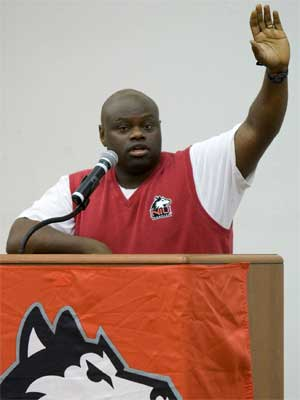 Volleyball coach Ray Gooden speaks at the 2011 HASF kickoff.