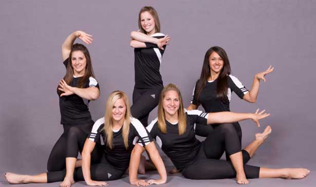 NIU gymnastics team seniors, from left: Tamara Murskyj, Ashley Guerra, Ashley Major, Shonda Clore, Tanya Rachan