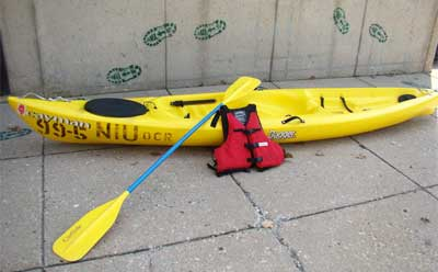 Photo of an NIU Campus Recreation kayak