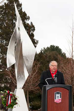 President John G. Peters speaks Tuesday, Feb. 14, at the Presentation of Memorial Wreaths.