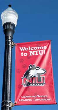 Photo of an NIU campus streetlight
