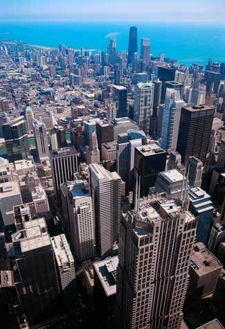 An aerial photograph of Chicago buildings