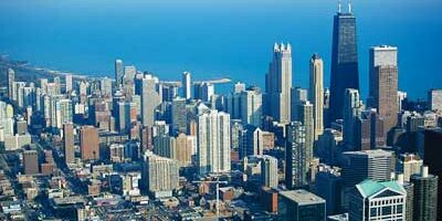 An aerial photo of Chicago