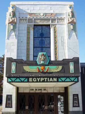 A photo of the front exterior of the Egyptian Theatre