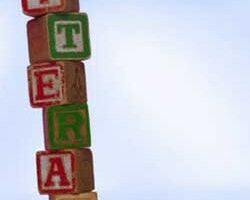 """Photo of a stack of alphabet blocks spelling """"literacy"""""""