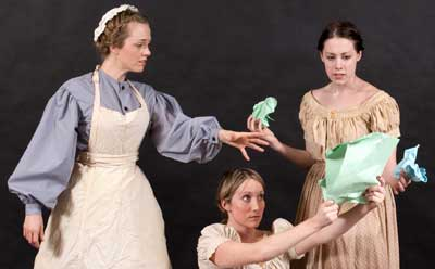 "Charlotte Fox, Kaitlin Henderson and Amy Powell rehearse a scene from ""Mrs. Packard."""
