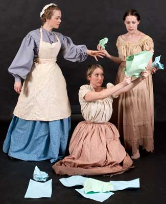 """Charlotte Fox, Kaitlin Henderson and Amy Powell rehearse a scene from """"Mrs. Packard."""""""