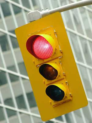 Photo of a red light on a traffic signal