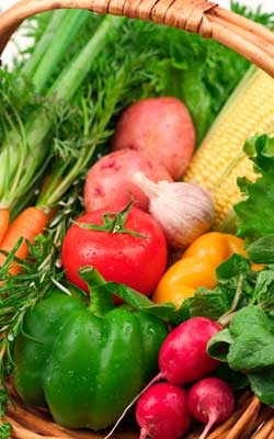 Photo of a basket of fresh vegetables
