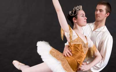 """Bryan Connor and Annie Mushrush perform in the Ballet Section of the classical ballet, """"Raymonda,"""" in the final performance of the School of Theatre and Dance 2011-2012 season, """"Siecle de Ballet."""""""