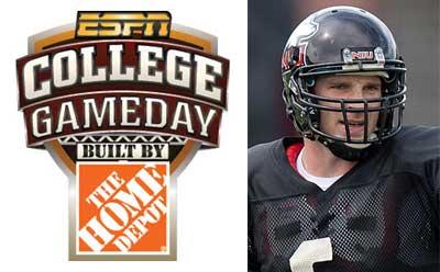 ESPN College GameDay logo and NIU QB Jordan Lynch