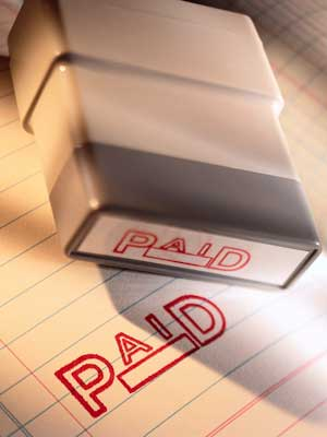 "A red rubber stamp of the word ""PAID"""